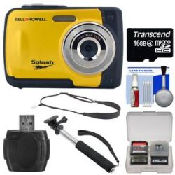 Cheap Bell & Howell Splash WP10 Shock & Waterproof Digital Camera (Yellow) with 16GB Card  Selfie Stick Monopod  Sling Strap  Kit Reviews
