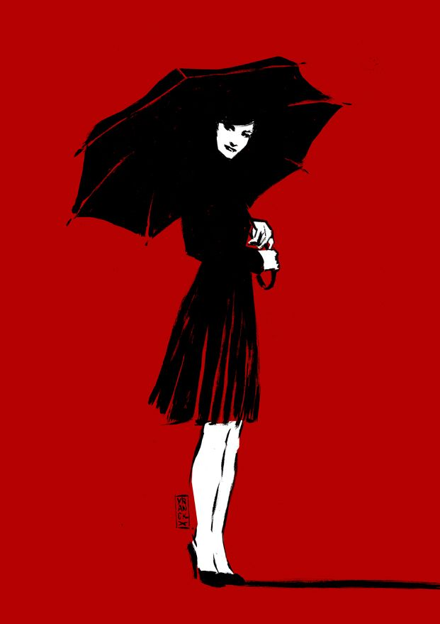 Gilles Vranckx: Ilustration, Graphic, Umbrellas, Girl, Black Red, Fashion Illustration, Art Illustration, Gilles Vranckx, Red Black