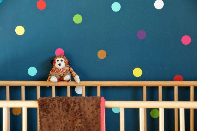 Konfetti für das Kinderzimmer: Bunte Wandtattoo Sticker / colourful wall tattoos, dotted for nursery by krAwalleuleDIY via DaWanda.com