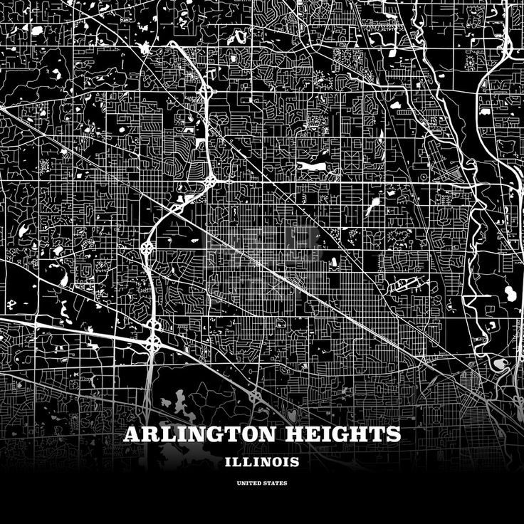 Black map poster template of arlington heights illinois