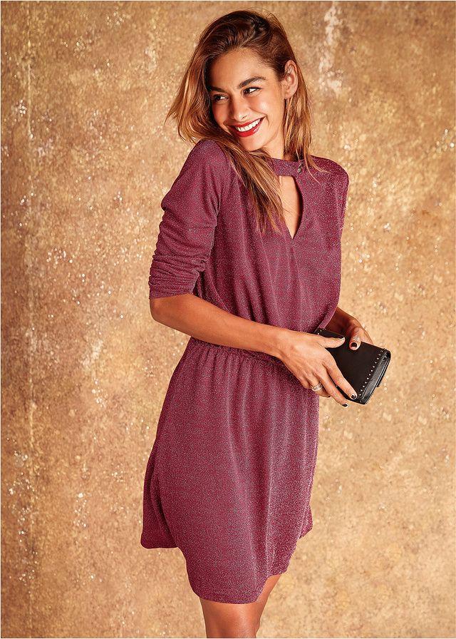 Sukienka Z małą stójką i gumką w talii • 129.99 zł • bonprix