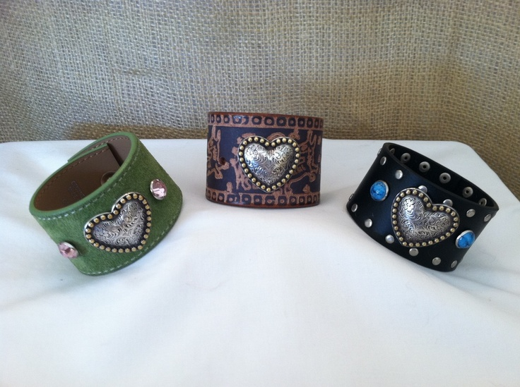 She makes this cuffs out of old belts....I  just bought two but the ones I bought aren't in pics I can find right now. www.casualcuffs.com Wendy Excited...she is sending a free one too..so sweet. Her business in AZ