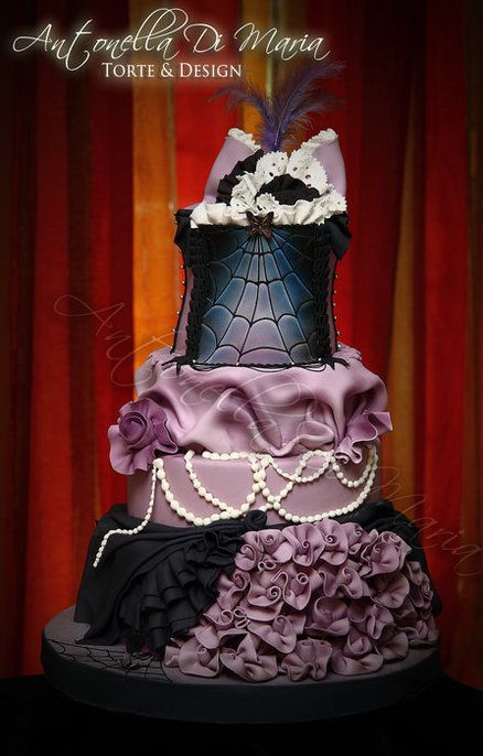 Purple and black wedding cake #goth wedding ... Wedding ideas for brides & bridesmaids, grooms & groomsmen, parents & planners ... https://itunes.apple.com/us/app/the-gold-wedding-planner/id498112599?ls=1=8 … plus how to organise an entire wedding, without overspending ♥ The Gold Wedding Planner iPhone App ♥: