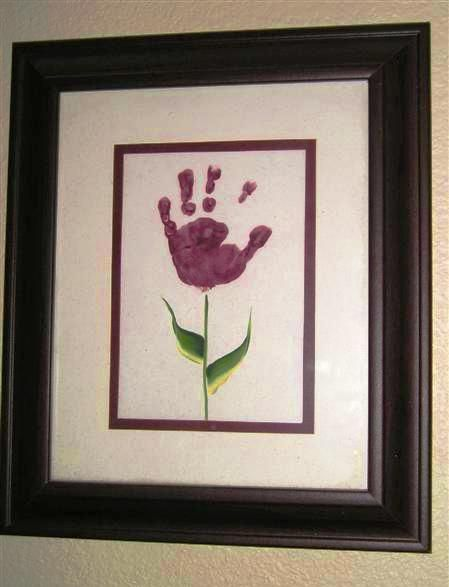 "Mother's Day Toddler Gift Idea ""Child's Tiny Handprint"". LOVE THIS!!!! wish my hubby got on pinterest so he can do this with my daughter's hand print for me!"