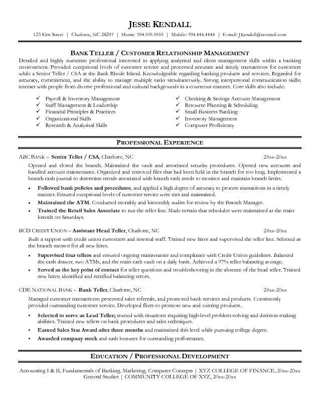 sample resume for a bank teller position httpwwwresumecareer - The Best Resume Templates