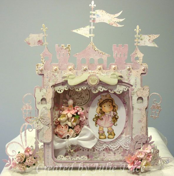 Castle Shadow Box Kit, Princess Party Tilda and Doohickeys: Feather, Swedish Lace, Paris Night, Lovely Fence and Flags, Paper Maja Sofiero Full details on my blog http://julieprice3.wordpress.com/2013/10/31/presenting-princess-tilda/