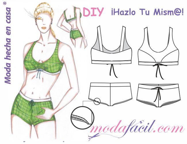 Descarga gratis los patrones del traje de Baño de Dos Piezas - Brassier & Short, disponible en 7 tallas listas para poner sobre la tela y cortar