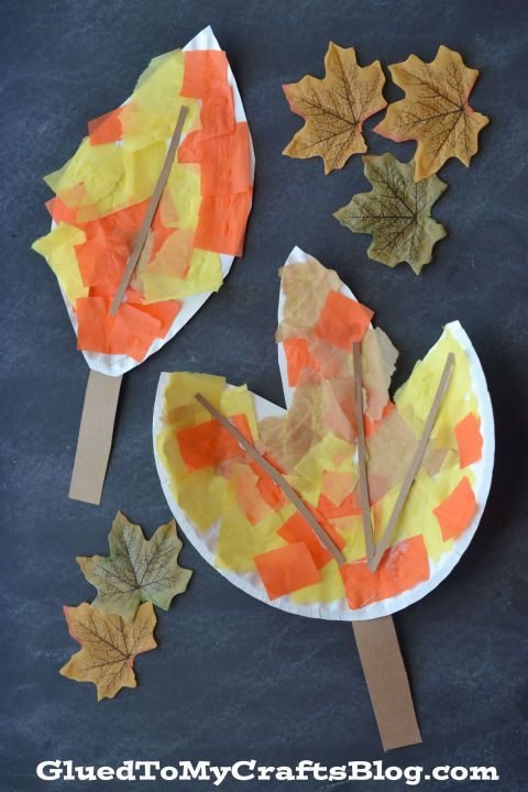 Mimic the changing leaves outside with on-hand supplies. Stick to traditional colors or let the kids add extra embellishments like stickers, doodles or glitter glue. Get the tutorial at Glued to My Crafts »