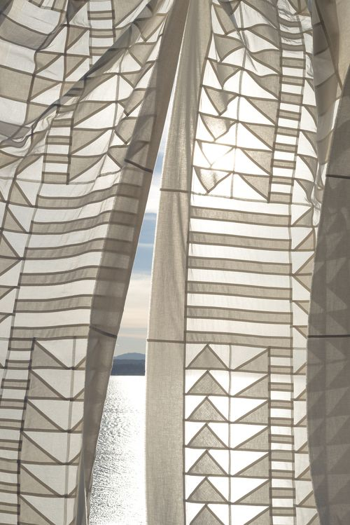 A custom project by Meg Callahan. Traditional Pojagi techniques were used to create drapes for a home.