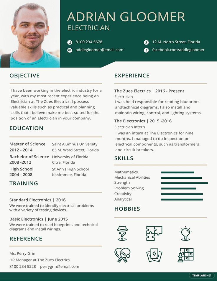 Free electrician resumecv template word doc psd