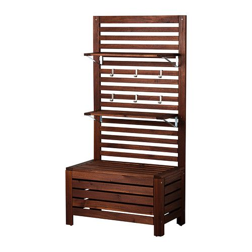 ÄPPLARÖ Bench with wall panel and shelf IKEA ~ I like this for entry way coat rack / backpack station.  Only $129.96 Could make cushion for each season / to go with decor.