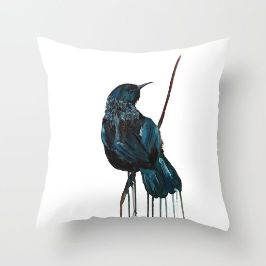 Tui Ink Throw Pillow by Art By Chrissy Taylor - $20.00