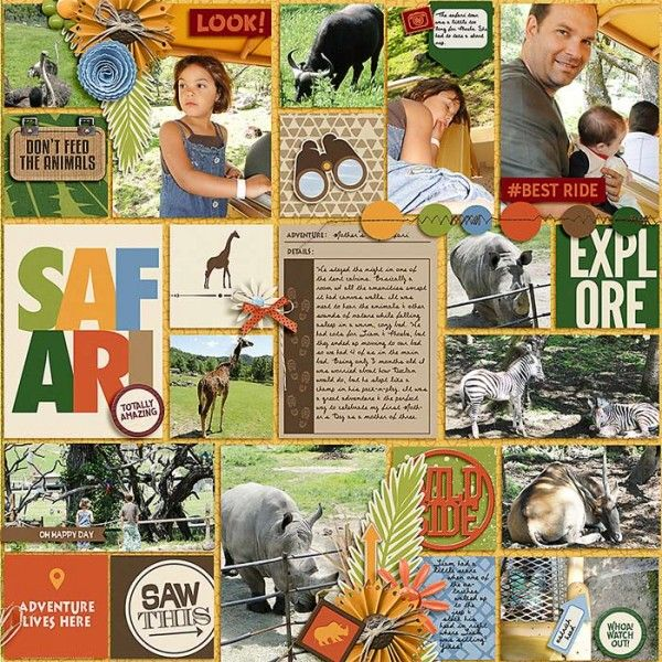 Go Wild Collection from Peppermint Creative #disney #safari #zoo #digiscrap #digitalscrapbook #layouts | @lraewoo