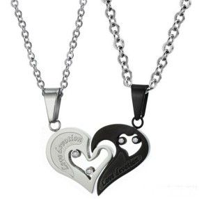 $17,19 Exclusive pairing stainless steel pendant + necklace combination for lovers. BEST PRICE: Directly in the jewelry factory. VAT-free shopping: Available, partners based in the European Union, only applies to EU tax identification number (UID). Exclusive design pairing stainless steel pendant & necklaces for couples and lovers.