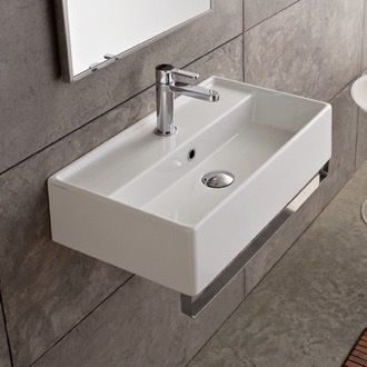 Bathroom Sink Rectangular Wall Mounted Ceramic Sink With Polished Chrome  Towel Bar Scarabeo 5001 TB