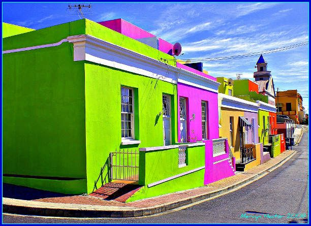 Colourful homes in Bo Kaap, Cape Town, South Africa. We'll be visiting the Bokap on my arts and Culture tour to South Africa.