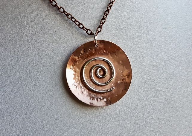 Copper and Sterling Silver Pendant, Spiral Galaxy  £28.00