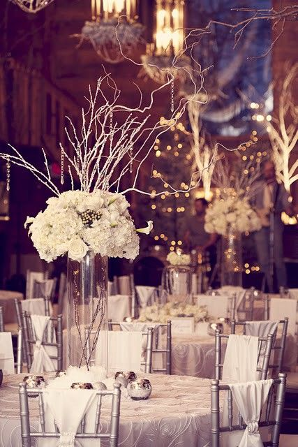Winter wedding table decorations a collection of weddings for Winter wedding reception ideas