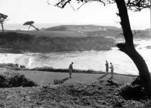 """Does everyone know the story of how Booby Jones picked his architect for Augusta?  Alister MacKenzie tees off on the 16th hole at Cypress Point in 1929. It was the first MacKenzie-designed course Jones played and he found the design """"almost perfect.,"""" wrote Charles Price in 'A Golf Story: Bobby Jones, Augusta National and the Masters Tournament. - More photos and history at http://www.Augusta.com"""