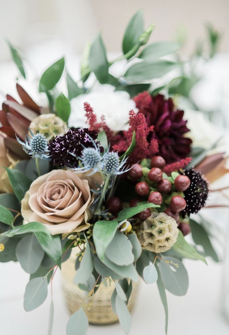 Small low centerpiece, fall wedding with mauve and burgundy. Dahlias, scabiosa, berries, thistle. Florals by Jenny//Brooke Bakken Photo