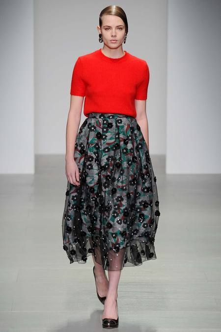 Holly Fulton AW14 - The cropped top silhouette against the high waisted floaty skirt is classic but is reinvented through colour and print.