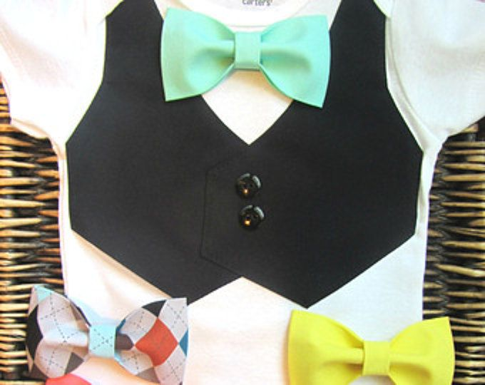 Baby Boy Clothes - Boys Bow Tie - Baby Boy Easter Outfit - Boys First Birthday - Coming Home Outfit - Baby Tuxedo - Boys Wedding Outfit