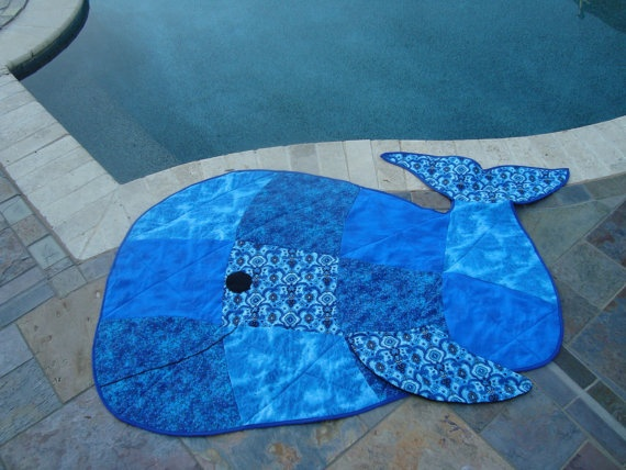Whale Shaped Quilt. $90.00, via Etsy.