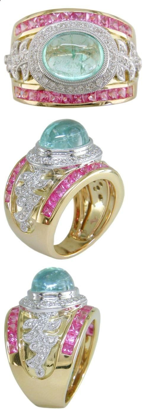 18KT Mozambique Paraiba Tourmaline, Pink Sapphire & Diamond Cigar Band - 6, The style of rings we call Cigar Band are extremely comfortable. Here we have blended together a combination of hot pink sapphires and a rare and exotic Pariaba Tourmaline. The yellow gold ring is o..., #Jewelry, #Bands