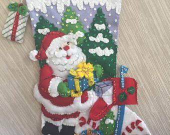 Buzones de Santa completa media fieltro hecho a mano de la Navidad Bucilla kit