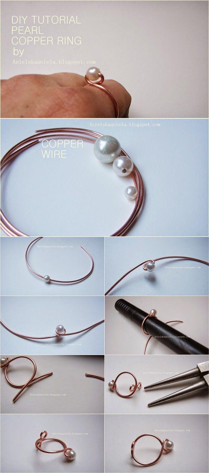diy tutorial copper pearl ring