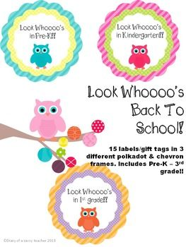 """""""Look whoooo's..."""" Owl themed Back To School labels/gift tags from Pre-K - 3rd grade! Perfect tags for back to school treat bags!"""
