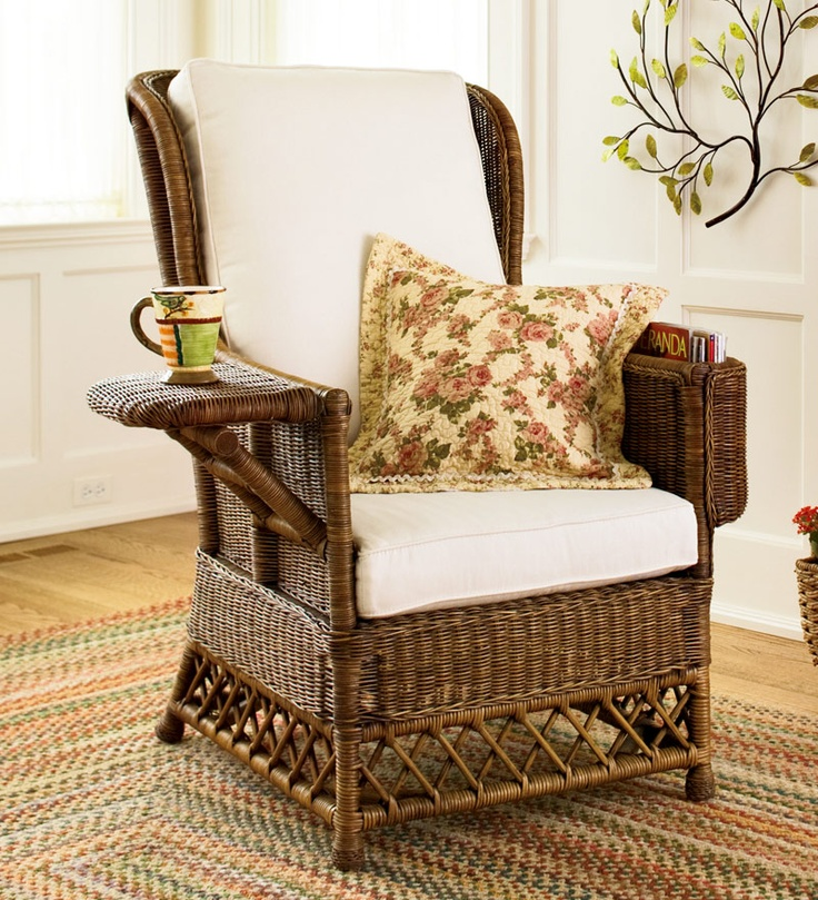 Rattan reading chair.
