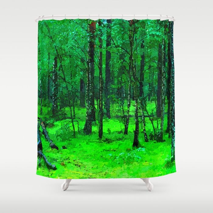 "Green enchanted forest, magical nature, beautiful view, calm place, rich colors wild nature painting Customize your #bathroom decor with unique shower #curtains designed by artists around the world. Made from 100% polyester our designer shower curtains are printed in the USA and feature a 12 button-hole top for simple hanging. The easy care material allows for machine wash and dry maintenance. Curtain rod, shower curtain liner and hooks not included. Dimensions are 71x74"" #society6 #shower"