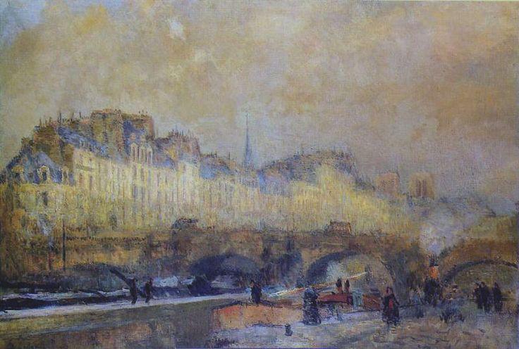 Albert Lebourg, before 1918, Paris, l'écluse de la Monnaie. Soleil d'hiver, oil…