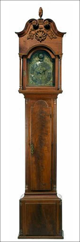 CHIPPENDALE WALNUT TALL CASE CLOCK, works by Edward Duffield, Philadelphia (1720/30 - 1803) circa 1755.  PROVENANCE: Property of a New Jersey Estate. According to family history the ownership of the tall case clock can be traced to Samuel Gardiner Wright (1781-1845) a highly successful Philadelphia merchant , investor, iron master, New Jersey gentleman farmer and State Legislator. Sold at Freeman's Auction November 21, 2010, $160,000.