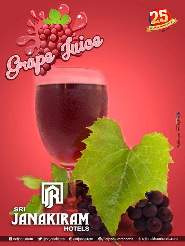 Delicious and thirst-quenching sparkling #GrapeJuice, made with high-quality, #fresh, sweetest grapes.  Enjoy it! #beattheheat #summer #health — at #Srijanakiram_Hotels.