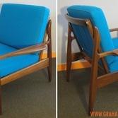 FLER armchairs in teal 100% wool
