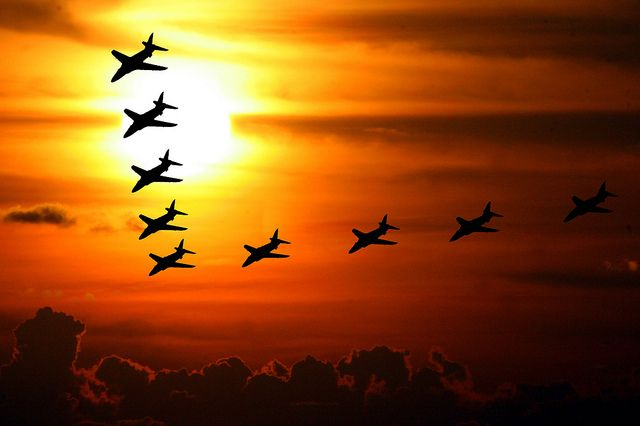"""Red Arrow Sunset by Heaven`s Gate (John), via Flickr  The British RAF display team """" The Red Arrows """" in silhouette against a setting sun. Throckmorton, England 2012.  Acknowledged as one of the world's premier aerobatic teams, The Red Arrows, is the public face of the Royal Air Force."""