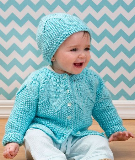 free #knitting pattern on Redheart - Star Bright Baby Cardigan and Hat