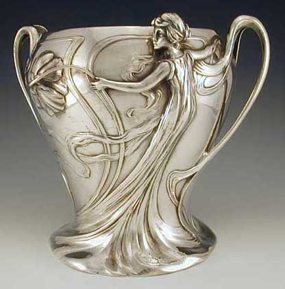 Silver Plate on pewter champagne bucket with figural maiden Art Nouveau decoration.  Germany ~ 1906