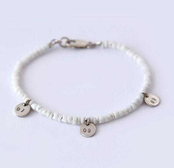 122 best l u c a j e w e l r y images on pinterest bar personalized beaded white initial pendant bracelet summer bracelet boho bracelet sterling silver mozeypictures Images