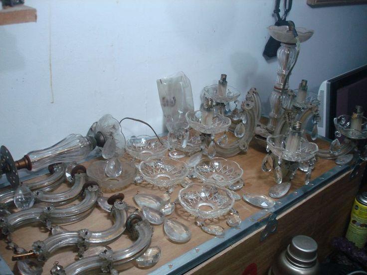 VTG Bohemian Glass Crystal Lot 2 Lamp Prism 5 Arm Ceiling Light Chandelier
