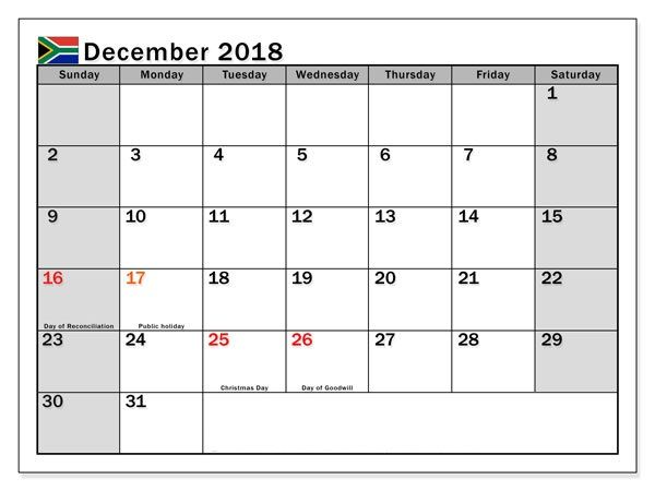 december 2018 south africa holidays calendar