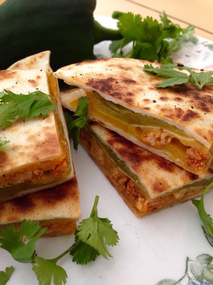 Hatch Chile Quesadillas Stuffed With Cheddar and Chicken