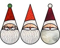 Super silly santa suncatchers silly stained glass pattern of pointy hat santa ornament | PDQ Patterns