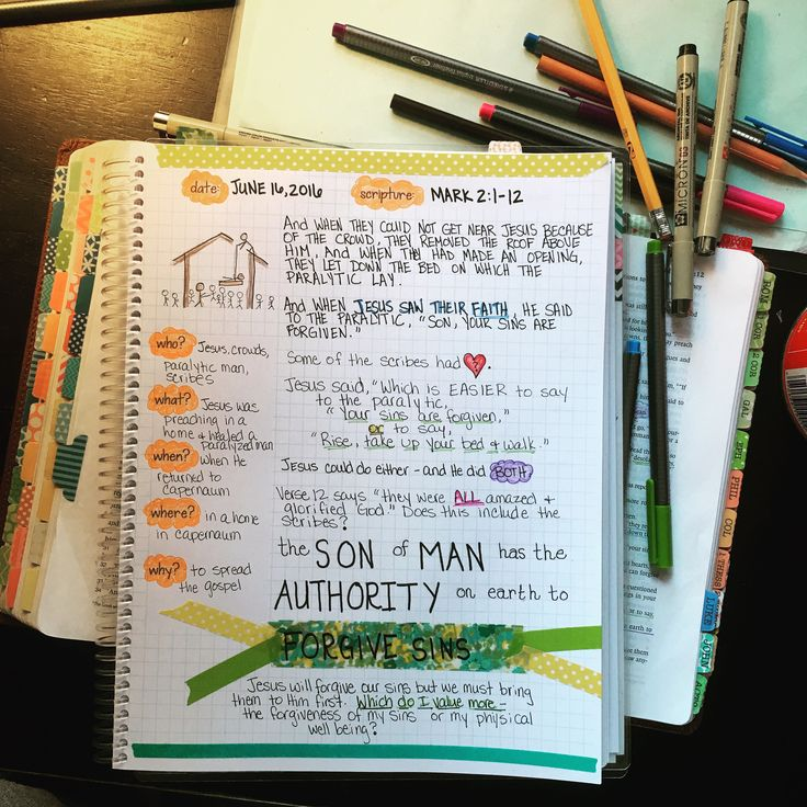 Day 5 in Bible Journaling the gospel of Mark. Remember how I said I'm not an artist? Well, this proves it! But that is OK, it's spending time in God's word and really studying it that matters. Love my Farm Girl Bible Journal!