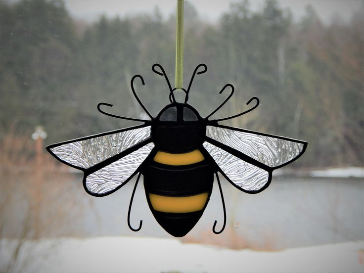 Stained Glass Bumble Bee Sun Catcher by RedfordGlassStudio on Etsy