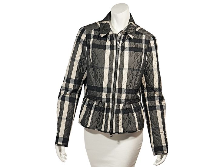 Black & White Burberry Plaid Quilted Jacket