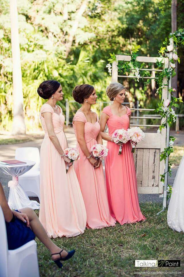 For her and him branded multi coloured bridesmaid drrsses - capped sleve shiffon dress in peach sherbet, dusty coral and peach pink