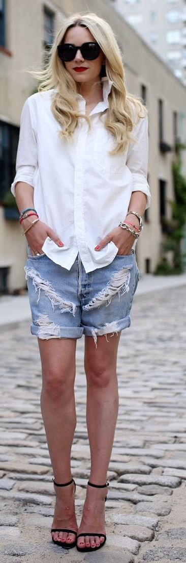 Levi's Blue Schredded Denim Long Line Rolled Cuff Boyfriend Shorts by Atlantic - Pacific
